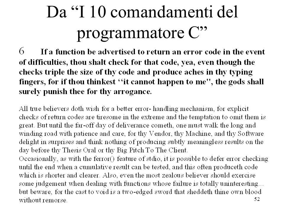 52 Da I 10 comandamenti del programmatore C