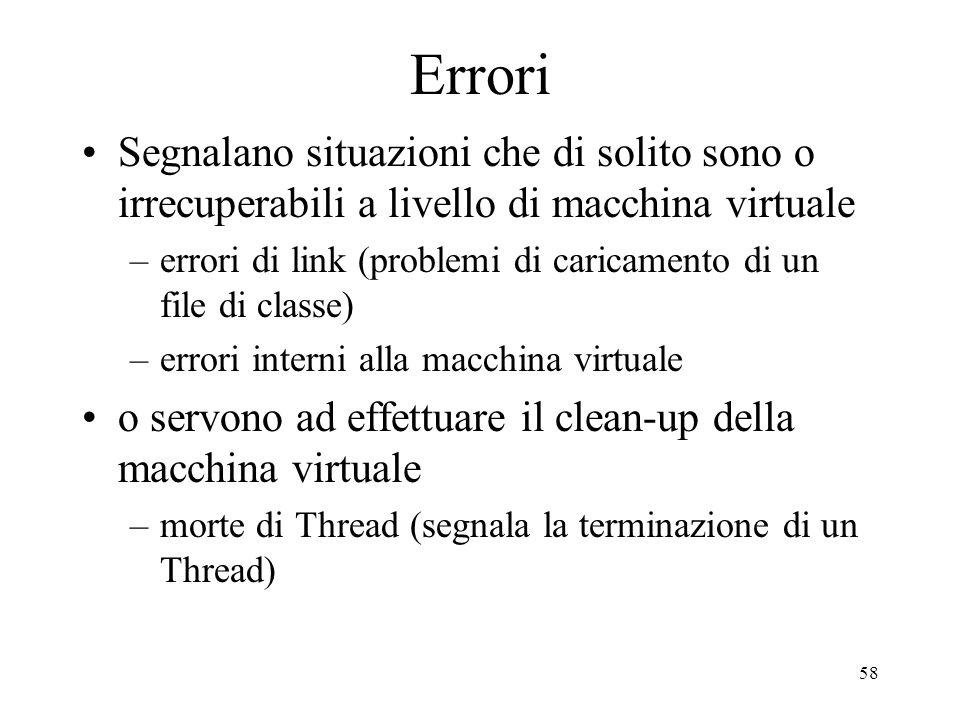 58 Errori Segnalano situazioni che di solito sono o irrecuperabili a livello di macchina virtuale –errori di link (problemi di caricamento di un file