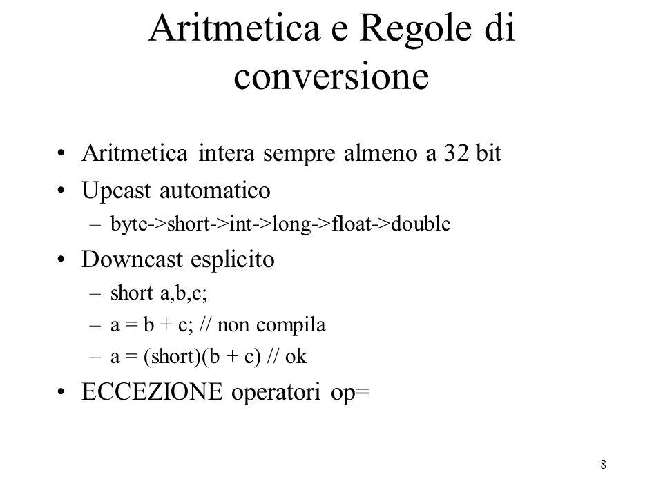 8 Aritmetica e Regole di conversione Aritmetica intera sempre almeno a 32 bit Upcast automatico –byte->short->int->long->float->double Downcast esplic