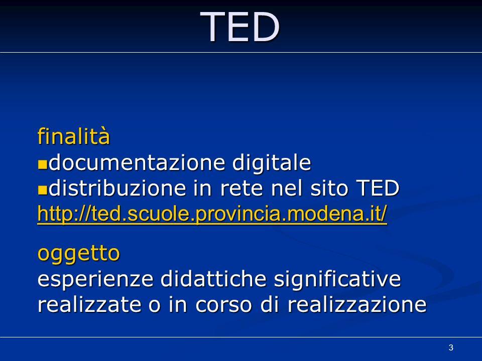 3TEDfinalità documentazione digitale documentazione digitale distribuzione in rete nel sito TED http://ted.scuole.provincia.modena.it/ distribuzione i