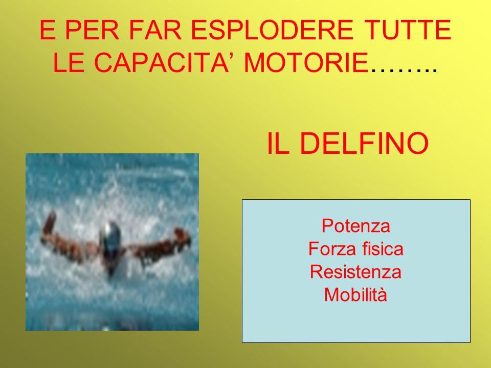 E PER FAR ESPLODERE TUTTE LE CAPACITA MOTORIE…….. IL DELFINO Potenza Forza fisica Resistenza Mobilità
