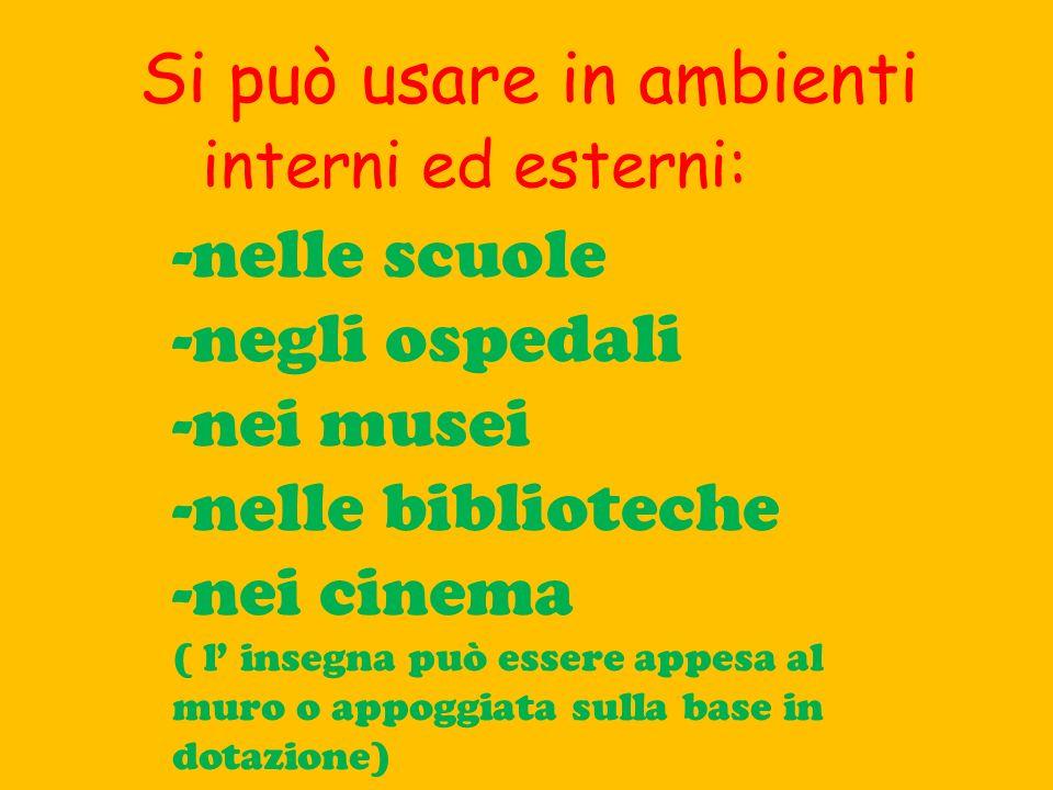 -nelle scuole -negli ospedali -nei musei -nelle biblioteche -nei cinema ( l insegna può essere appesa al muro o appoggiata sulla base in dotazione) Si