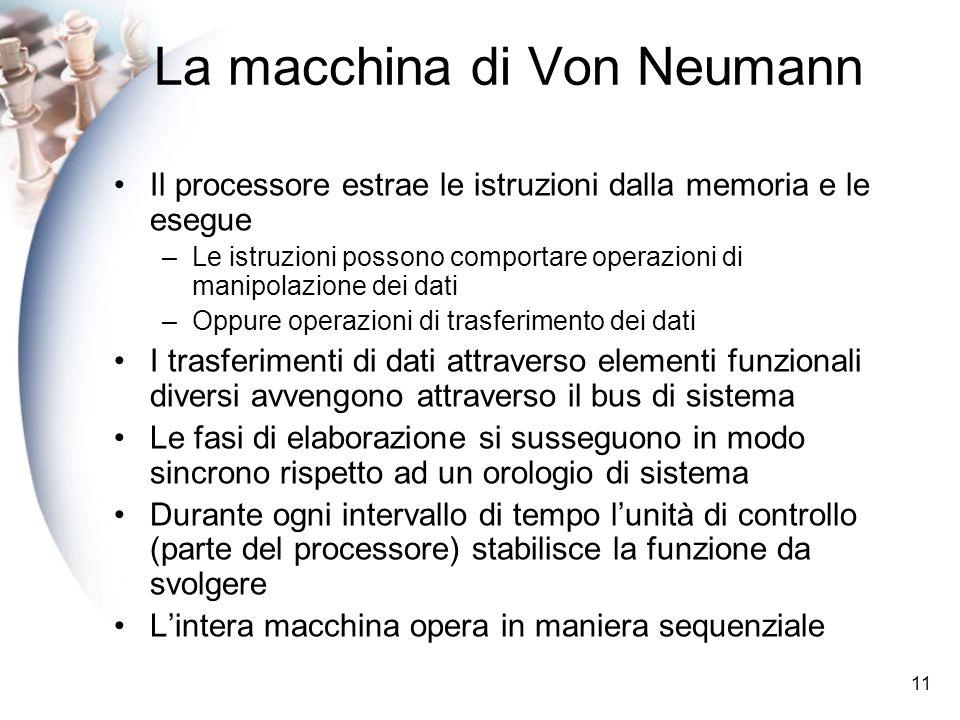 11 La macchina di Von Neumann Il processore estrae le istruzioni dalla memoria e le esegue –Le istruzioni possono comportare operazioni di manipolazione dei dati –Oppure operazioni di trasferimento dei dati I trasferimenti di dati attraverso elementi funzionali diversi avvengono attraverso il bus di sistema Le fasi di elaborazione si susseguono in modo sincrono rispetto ad un orologio di sistema Durante ogni intervallo di tempo lunità di controllo (parte del processore) stabilisce la funzione da svolgere Lintera macchina opera in maniera sequenziale
