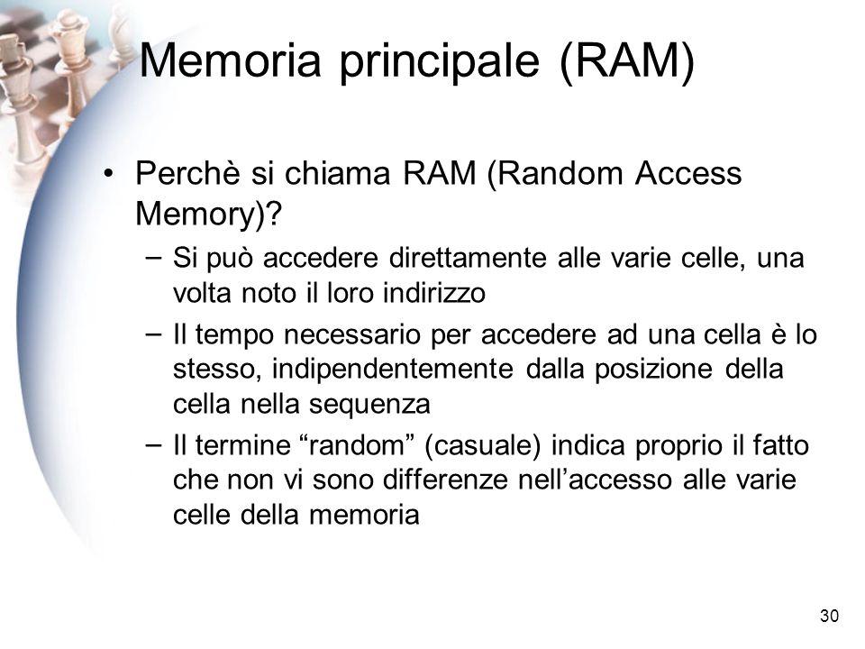 30 Memoria principale (RAM) Perchè si chiama RAM (Random Access Memory)? – Si può accedere direttamente alle varie celle, una volta noto il loro indir
