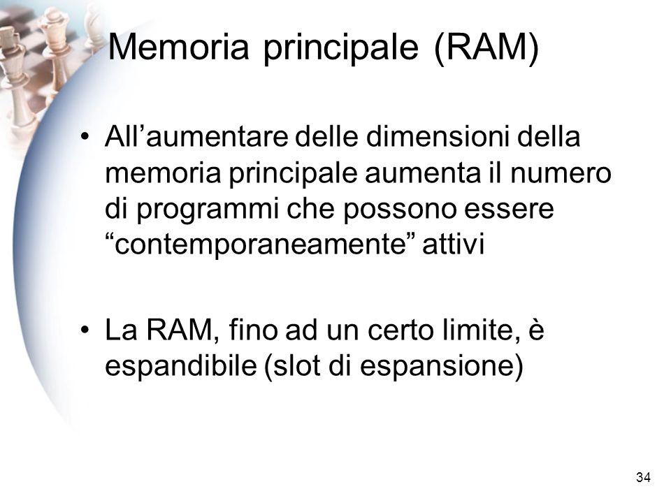 34 Memoria principale (RAM) Allaumentare delle dimensioni della memoria principale aumenta il numero di programmi che possono essere contemporaneamente attivi La RAM, fino ad un certo limite, è espandibile (slot di espansione)