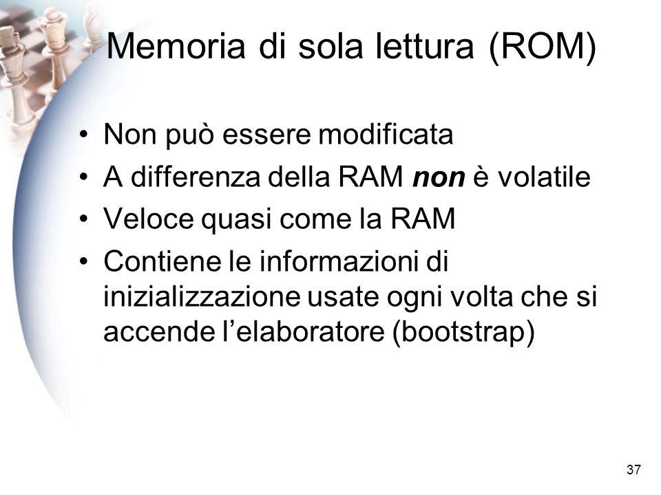 37 Memoria di sola lettura (ROM) Non può essere modificata A differenza della RAM non è volatile Veloce quasi come la RAM Contiene le informazioni di inizializzazione usate ogni volta che si accende lelaboratore (bootstrap)