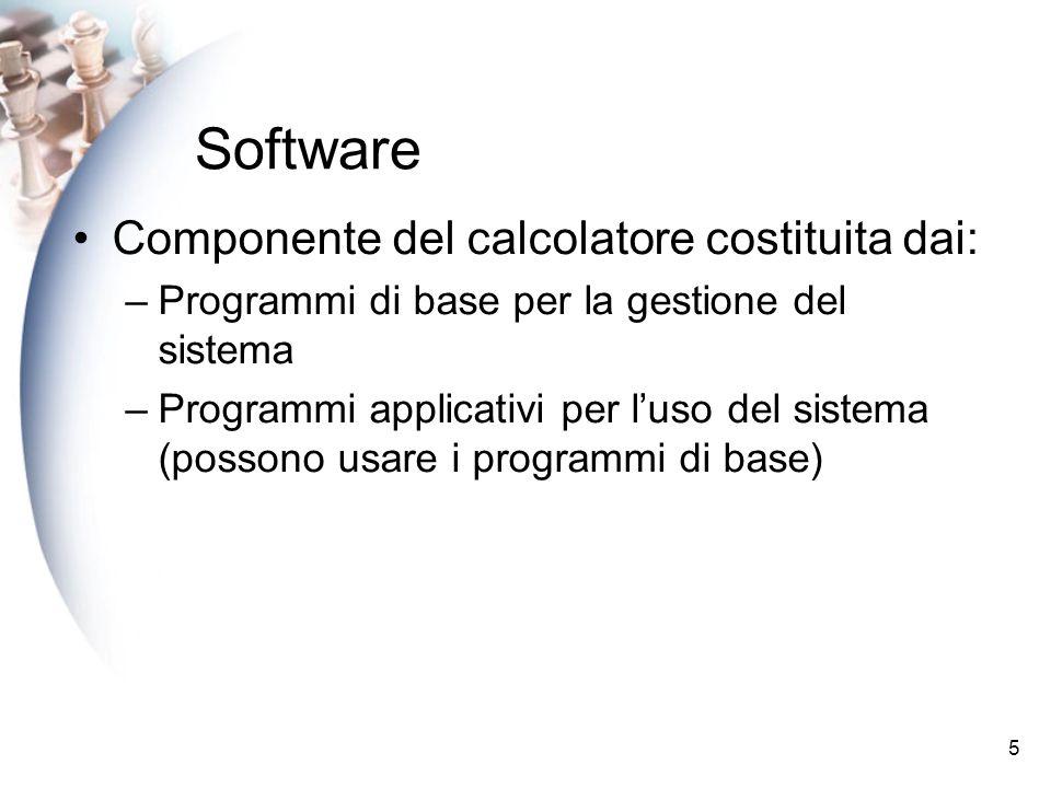 5 Software Componente del calcolatore costituita dai: –Programmi di base per la gestione del sistema –Programmi applicativi per luso del sistema (possono usare i programmi di base)
