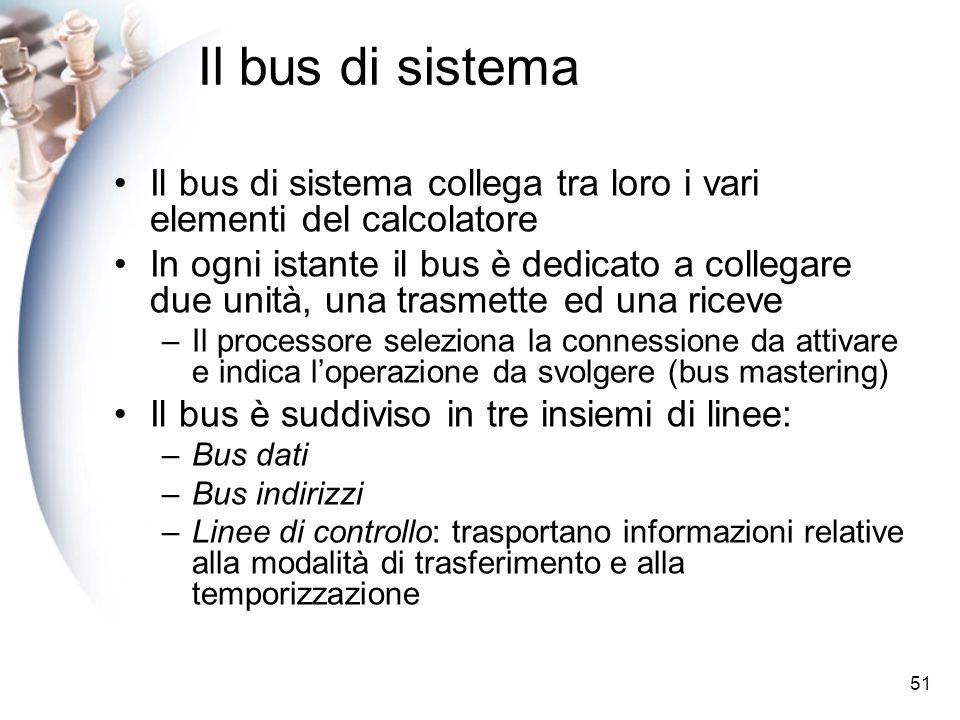 51 Il bus di sistema collega tra loro i vari elementi del calcolatore In ogni istante il bus è dedicato a collegare due unità, una trasmette ed una riceve –Il processore seleziona la connessione da attivare e indica loperazione da svolgere (bus mastering) Il bus è suddiviso in tre insiemi di linee: –Bus dati –Bus indirizzi –Linee di controllo: trasportano informazioni relative alla modalità di trasferimento e alla temporizzazione Il bus di sistema