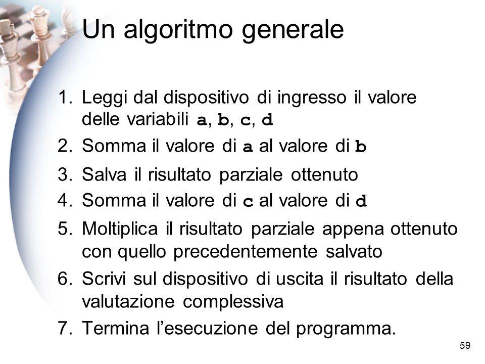 59 Un algoritmo generale 1.Leggi dal dispositivo di ingresso il valore delle variabili a, b, c, d 2.Somma il valore di a al valore di b 3.Salva il ris