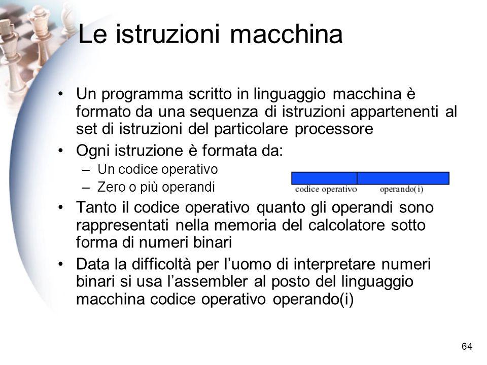 64 Le istruzioni macchina Un programma scritto in linguaggio macchina è formato da una sequenza di istruzioni appartenenti al set di istruzioni del pa