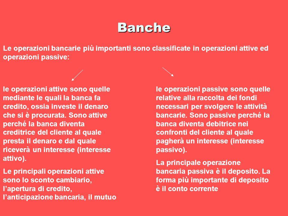 Banche Le operazioni bancarie più importanti sono classificate in operazioni attive ed operazioni passive: le operazioni attive sono quelle mediante l