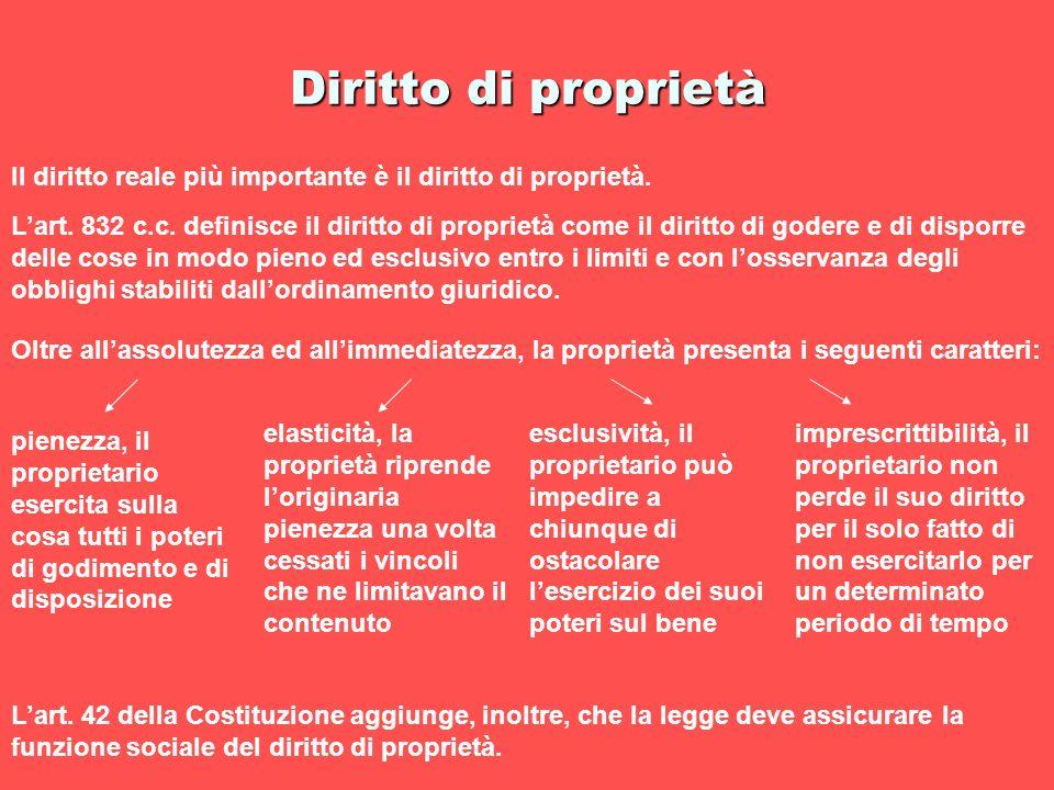 Diritto di proprietà Il diritto reale più importante è il diritto di proprietà. Lart. 832 c.c. definisce il diritto di proprietà come il diritto di go