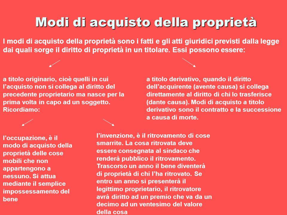 Modi di acquisto della proprietà I modi di acquisto della proprietà sono i fatti e gli atti giuridici previsti dalla legge dai quali sorge il diritto