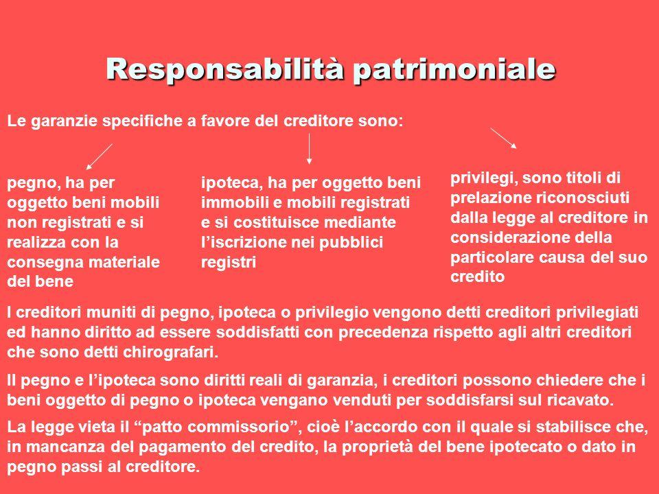 Responsabilità patrimoniale Le garanzie specifiche a favore del creditore sono: pegno, ha per oggetto beni mobili non registrati e si realizza con la