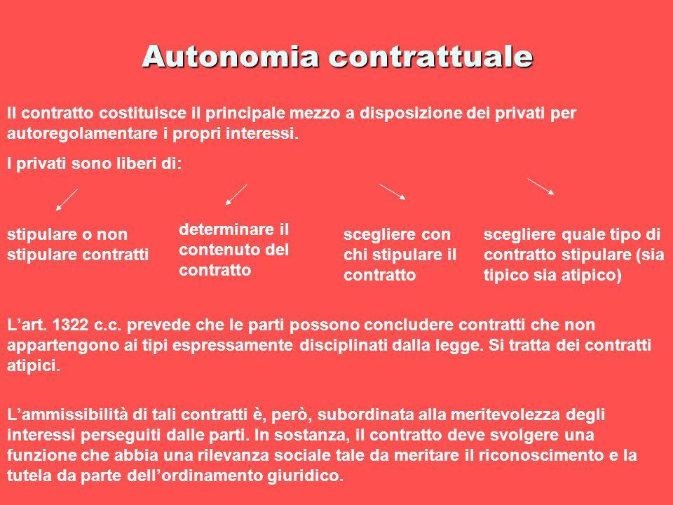 Autonomia contrattuale Il contratto costituisce il principale mezzo a disposizione dei privati per autoregolamentare i propri interessi. I privati son