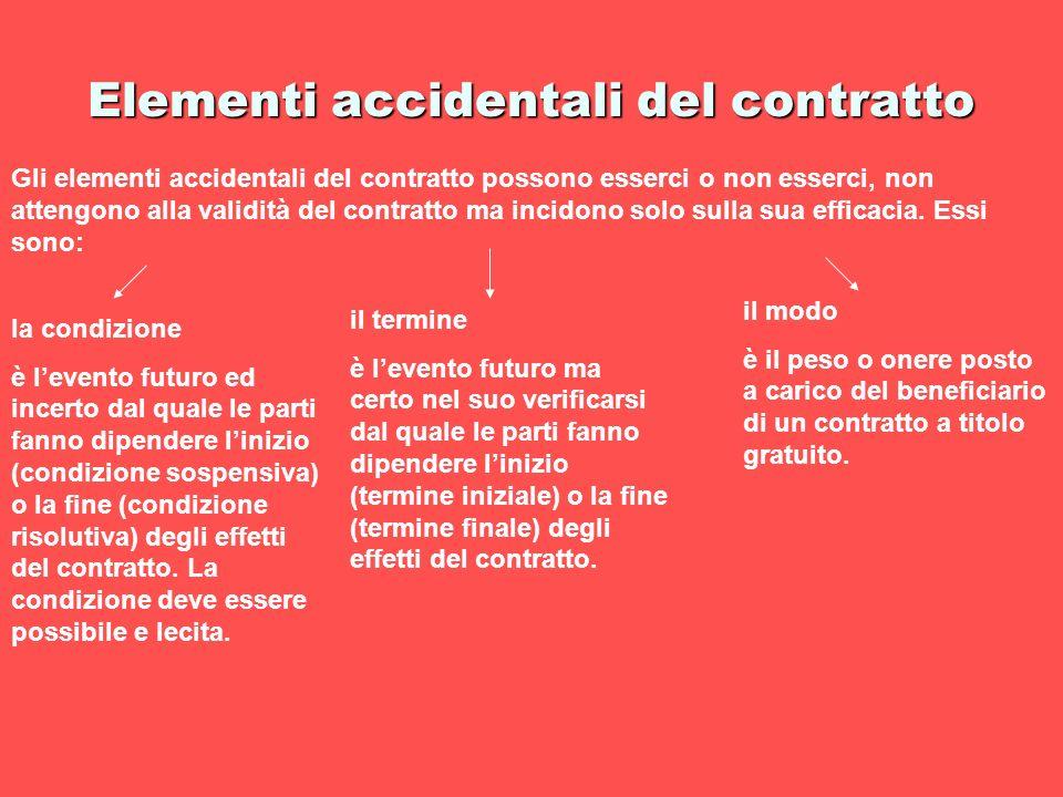 Elementi accidentali del contratto Gli elementi accidentali del contratto possono esserci o non esserci, non attengono alla validità del contratto ma
