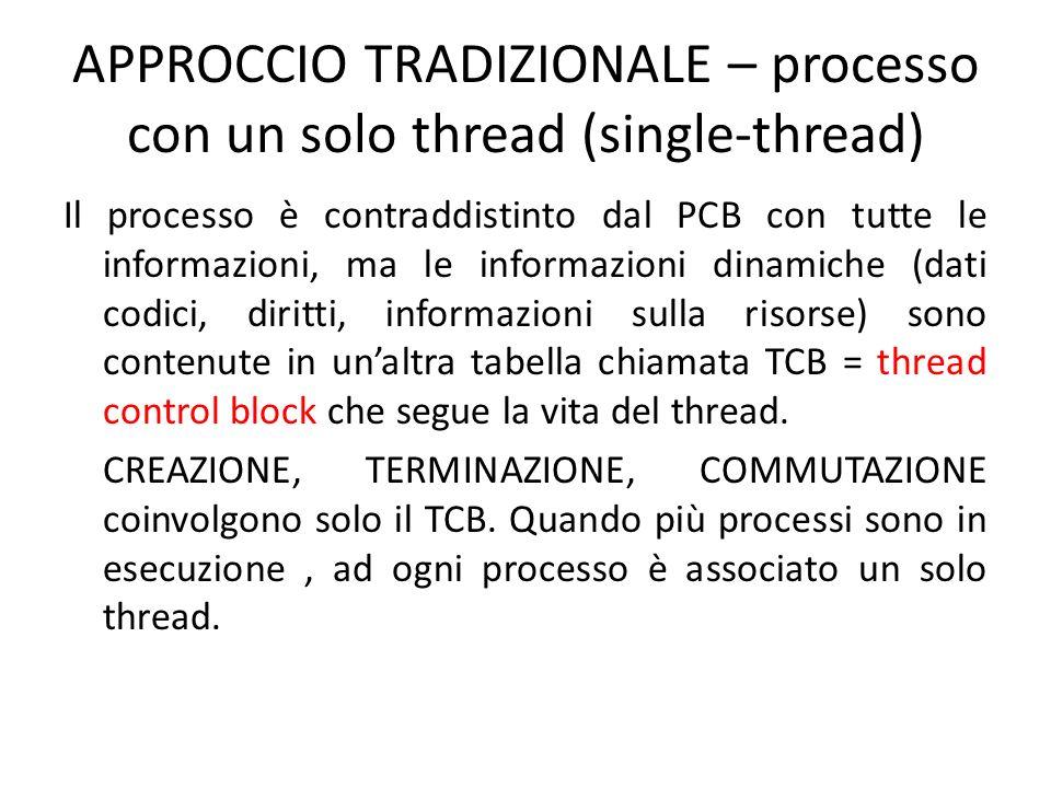 APPROCCIO TRADIZIONALE – processo con un solo thread (single-thread) Il processo è contraddistinto dal PCB con tutte le informazioni, ma le informazioni dinamiche (dati codici, diritti, informazioni sulla risorse) sono contenute in unaltra tabella chiamata TCB = thread control block che segue la vita del thread.