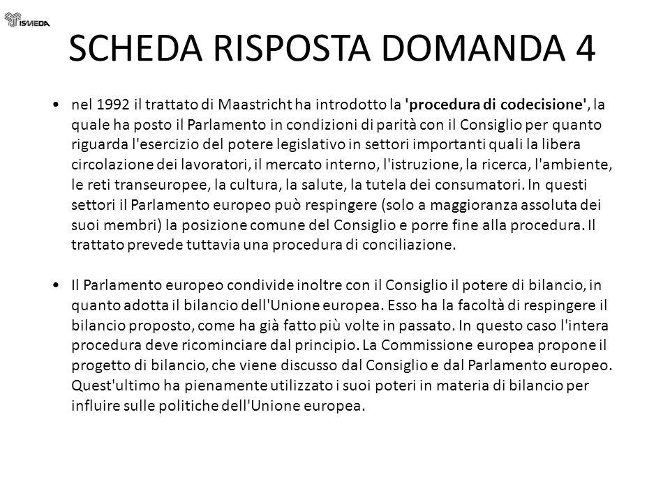 SCHEDA RISPOSTA DOMANDA 4 nel 1992 il trattato di Maastricht ha introdotto la 'procedura di codecisione', la quale ha posto il Parlamento in condizion