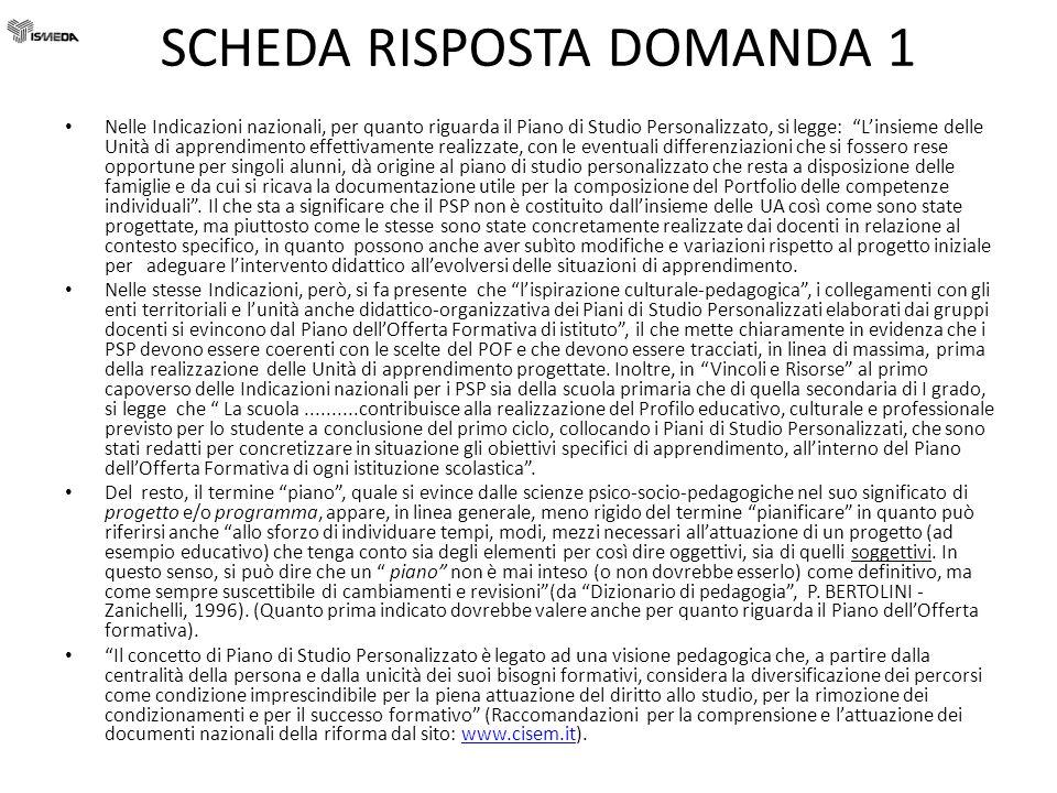 SCHEDA RISPOSTE DOMANDA 10 D.I.