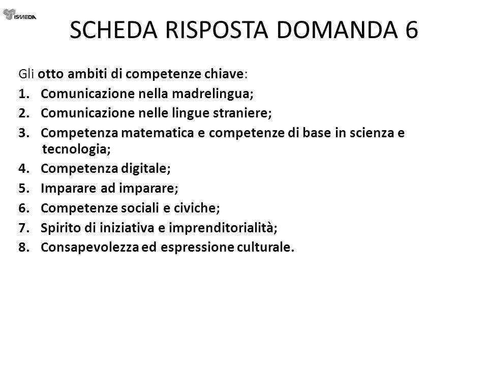 SCHEDA RISPOSTA DOMANDA 6 Gli otto ambiti di competenze chiave: 1. Comunicazione nella madrelingua; 2. Comunicazione nelle lingue straniere; 3. Compet