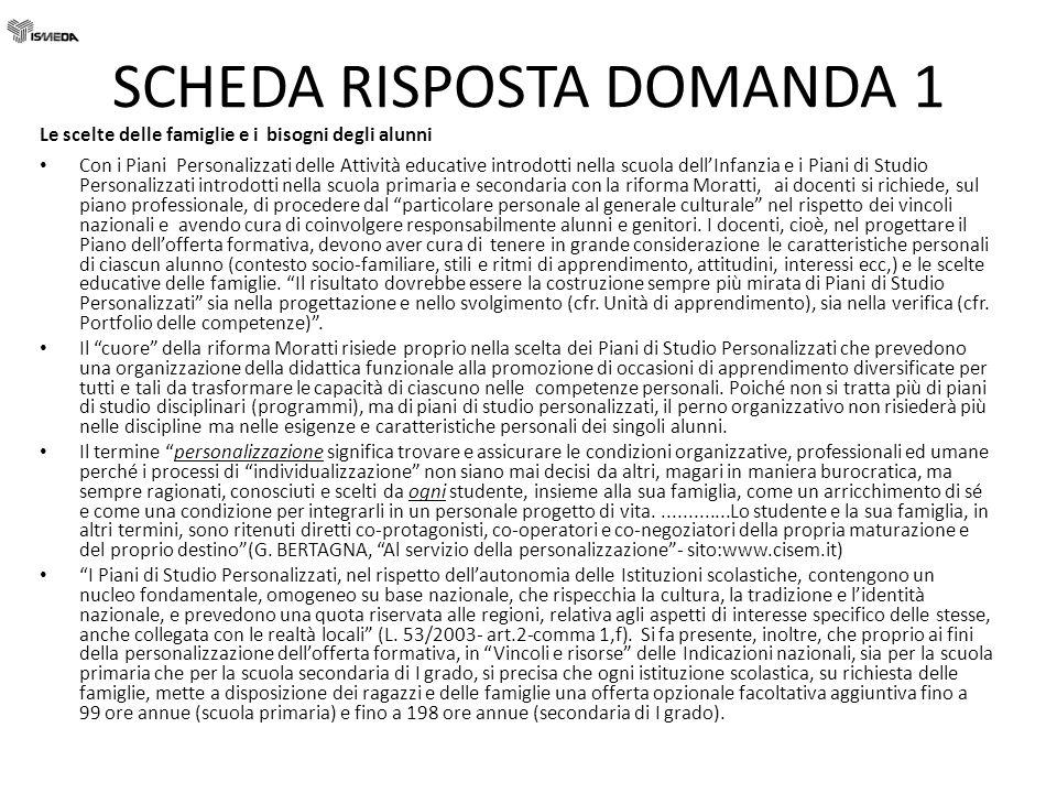 SCHEDA RISPOSTE DOMANDA 10 4.