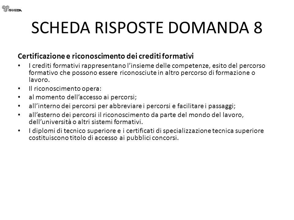 SCHEDA RISPOSTE DOMANDA 8 Certificazione e riconoscimento dei crediti formativi I crediti formativi rappresentano linsieme delle competenze, esito del