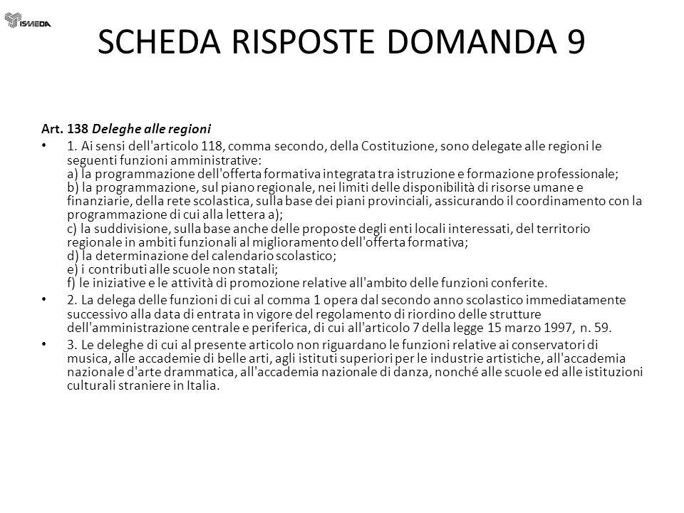 SCHEDA RISPOSTE DOMANDA 9 Art. 138 Deleghe alle regioni 1. Ai sensi dell'articolo 118, comma secondo, della Costituzione, sono delegate alle regioni l