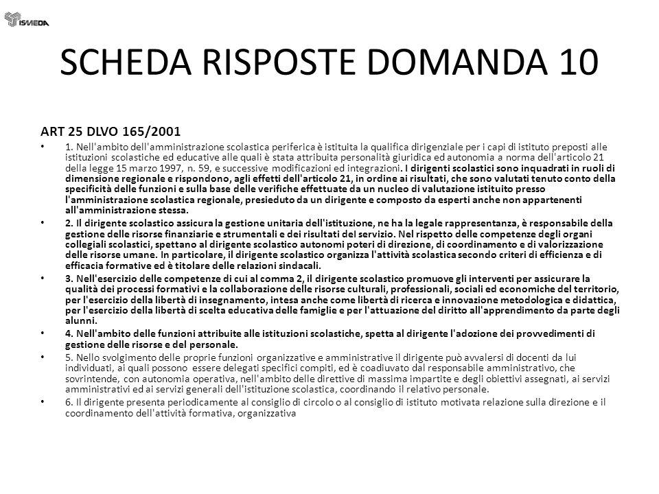 SCHEDA RISPOSTE DOMANDA 10 ART 25 DLVO 165/2001 1. Nell'ambito dell'amministrazione scolastica periferica è istituita la qualifica dirigenziale per i