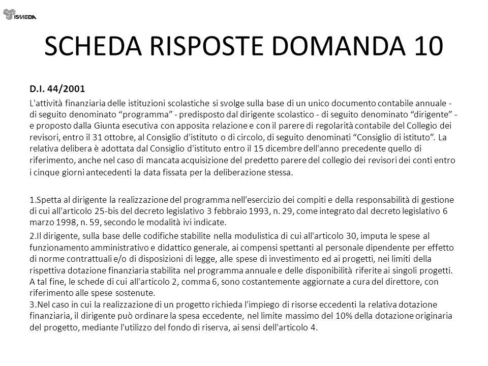 SCHEDA RISPOSTE DOMANDA 10 D.I. 44/2001 L'attività finanziaria delle istituzioni scolastiche si svolge sulla base di un unico documento contabile annu