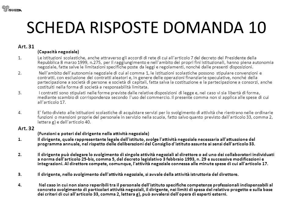 SCHEDA RISPOSTE DOMANDA 10 Art. 31 (Capacità negoziale) 1.Le istituzioni scolastiche, anche attraverso gli accordi di rete di cui all'articolo 7 del d