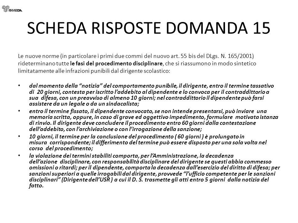 SCHEDA RISPOSTE DOMANDA 15 Le nuove norme (in particolare i primi due commi del nuovo art. 55 bis del DLgs. N. 165/2001) rideterminano tutte le fasi d
