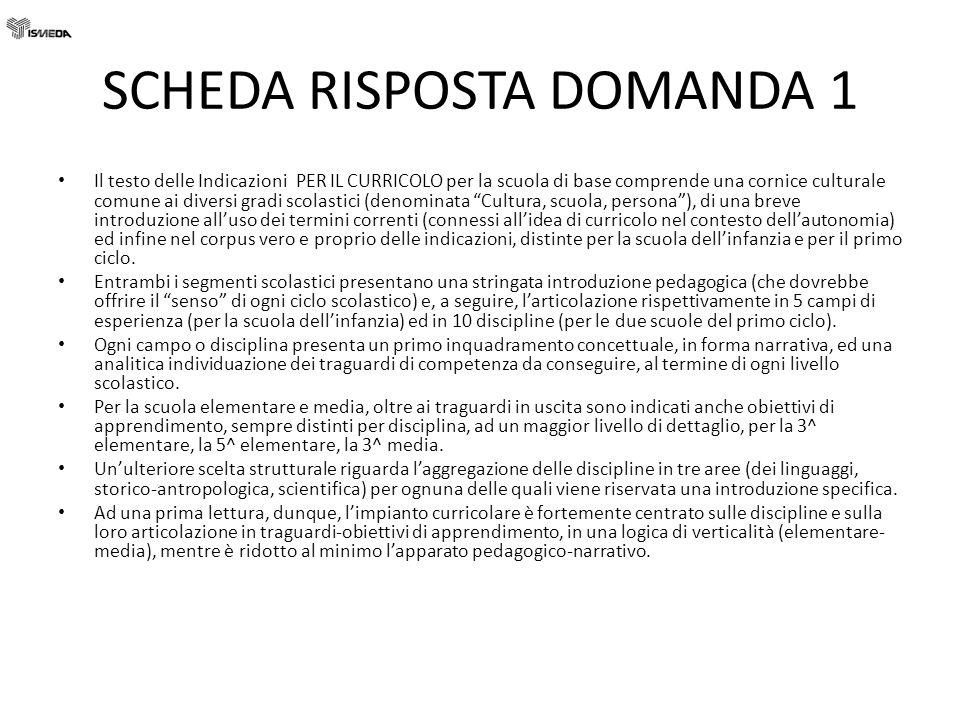 SCHEDA RISPOSTE DOMANDA 7 Certificazione delle competenze 1.