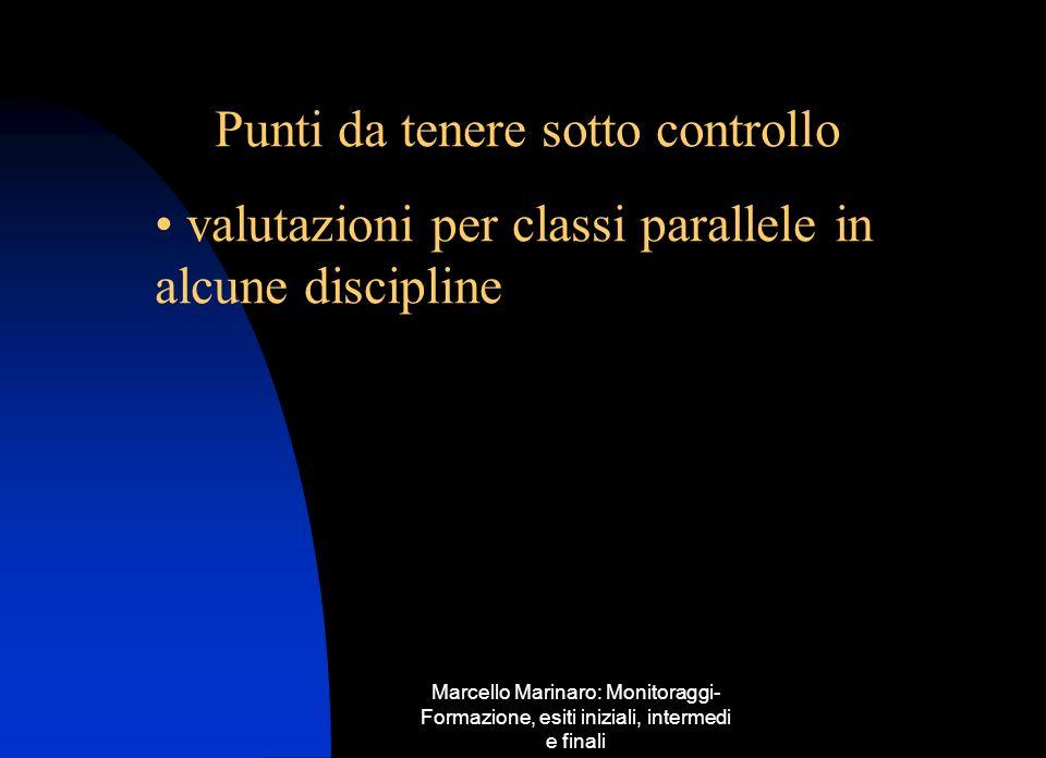 Marcello Marinaro: Monitoraggi- Formazione, esiti iniziali, intermedi e finali Punti da tenere sotto controllo valutazioni per classi parallele in alc