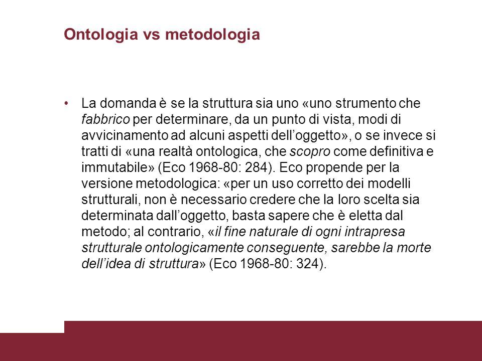 Ontologia vs metodologia La domanda è se la struttura sia uno «uno strumento che fabbrico per determinare, da un punto di vista, modi di avvicinamento ad alcuni aspetti delloggetto», o se invece si tratti di «una realtà ontologica, che scopro come definitiva e immutabile» (Eco 1968-80: 284).