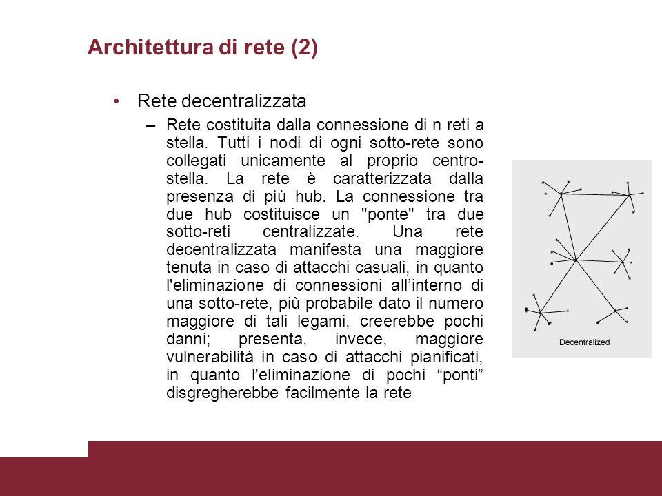 Architettura di rete (2) Rete decentralizzata –Rete costituita dalla connessione di n reti a stella.