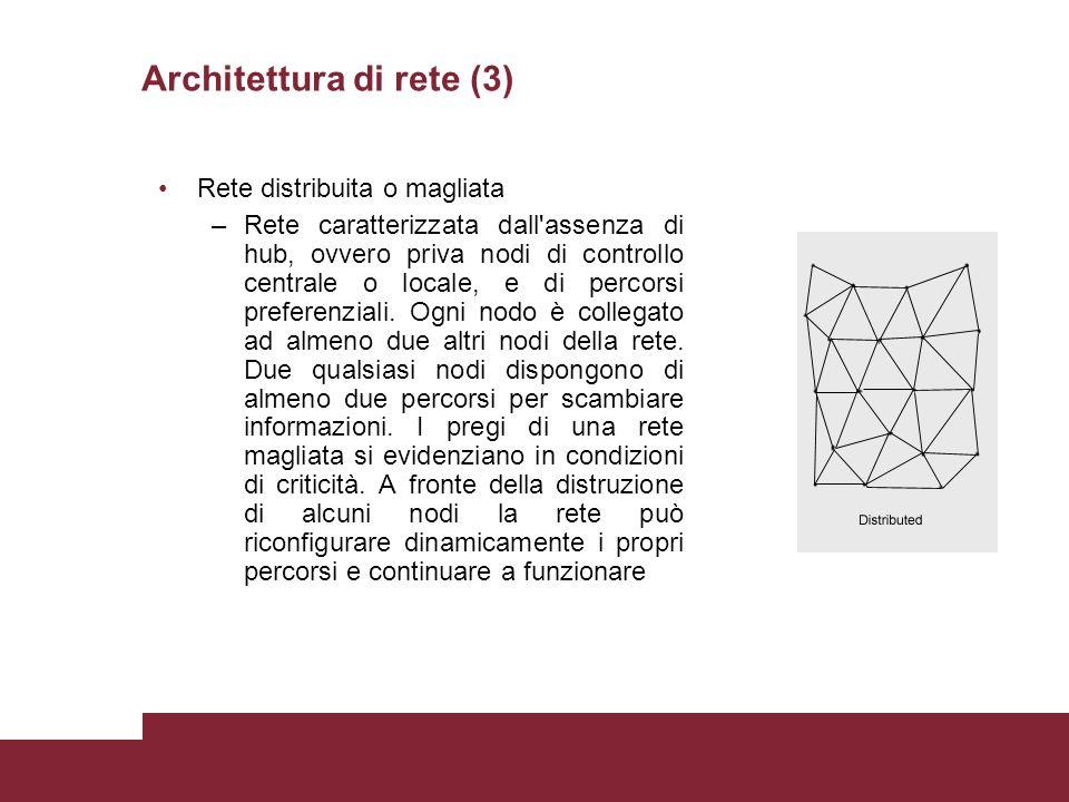 Rete distribuita o magliata –Rete caratterizzata dall assenza di hub, ovvero priva nodi di controllo centrale o locale, e di percorsi preferenziali.