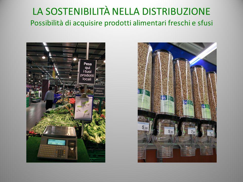 LA SOSTENIBILITÀ NELLA DISTRIBUZIONE Possibilità di acquisire prodotti alimentari freschi e sfusi