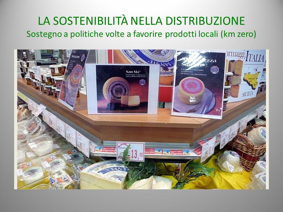 LA SOSTENIBILITÀ NELLA DISTRIBUZIONE Sostegno a politiche volte a favorire prodotti locali (km zero)