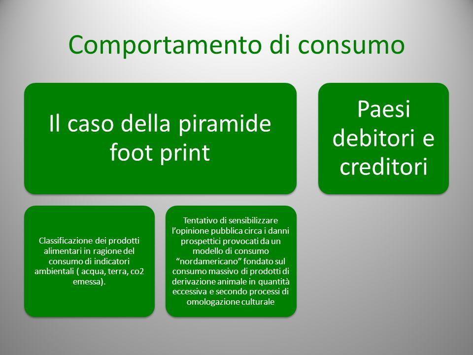 Comportamento di consumo Il caso della piramide foot print Classificazione dei prodotti alimentari in ragione del consumo di indicatori ambientali ( a