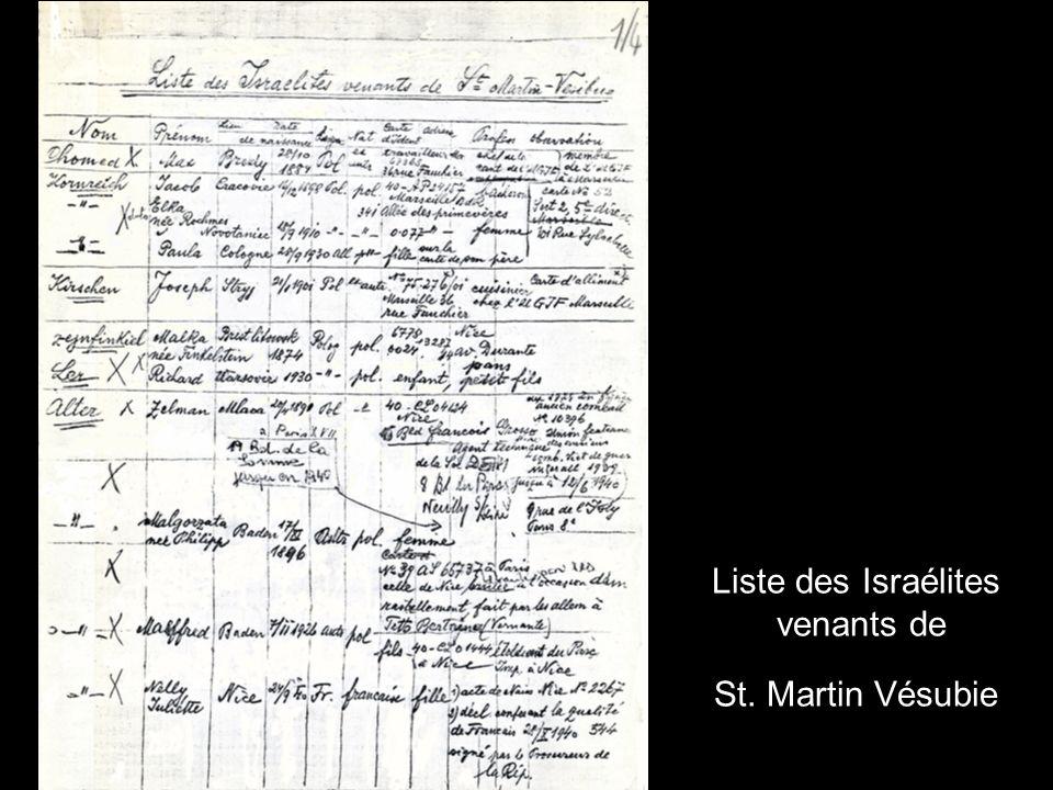 Liste des Israélites venants de St. Martin Vésubie