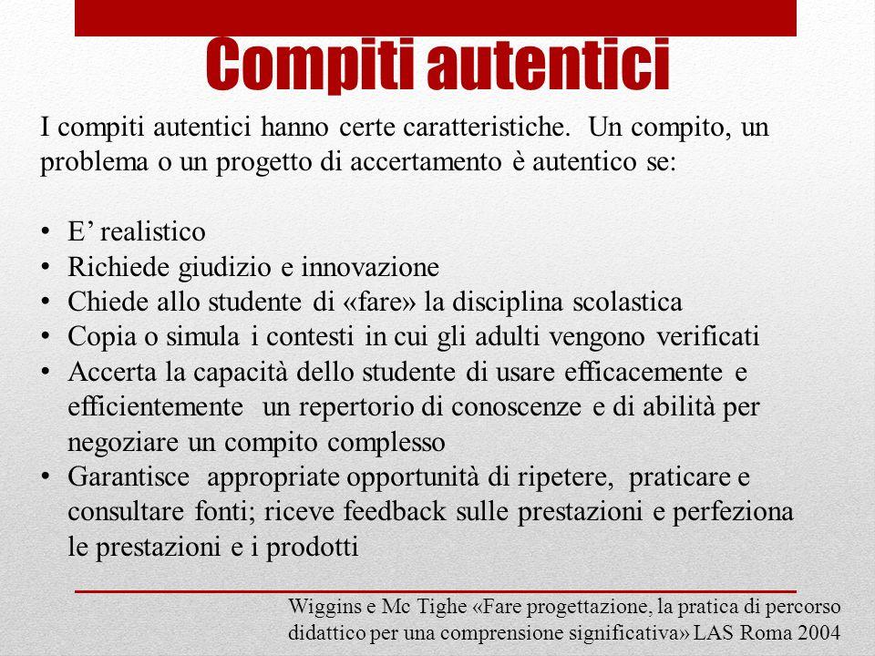 Compiti autentici I compiti autentici hanno certe caratteristiche. Un compito, un problema o un progetto di accertamento è autentico se: E realistico