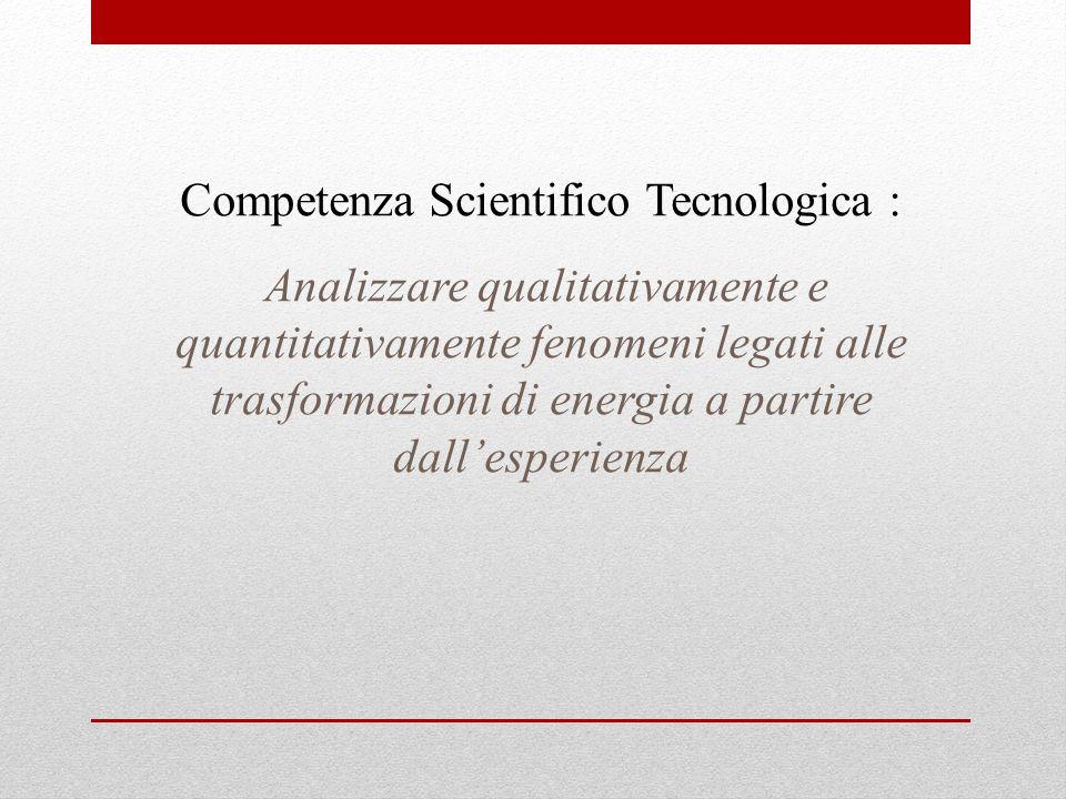 Competenza Scientifico Tecnologica : Analizzare qualitativamente e quantitativamente fenomeni legati alle trasformazioni di energia a partire dallespe