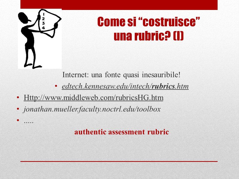 Come si costruisce una rubric? (I) Internet: una fonte quasi inesauribile! edtech.kennesaw.edu/intech/rubrics.htm Http://www.middleweb.com/rubricsHG.h