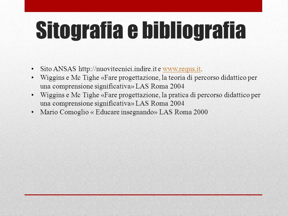 Sitografia e bibliografia Sito ANSAS http://nuovitecnici.indire.it e www.requs.it.www.requs.it Wiggins e Mc Tighe «Fare progettazione, la teoria di pe