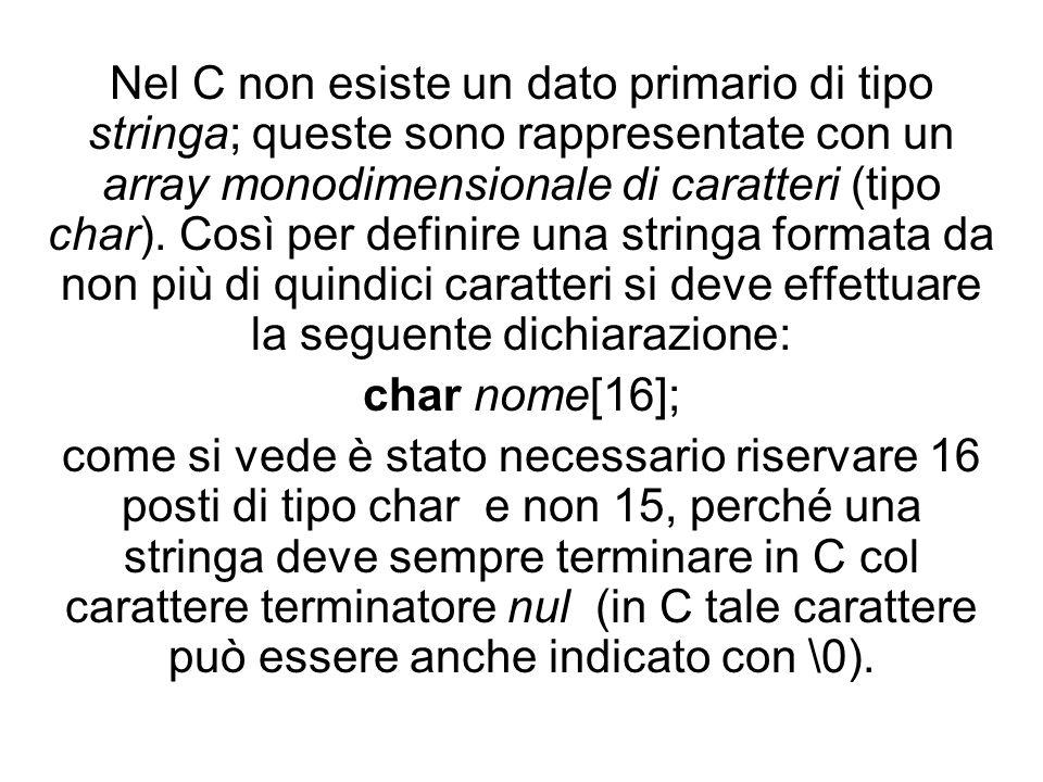 Nel C non esiste un dato primario di tipo stringa; queste sono rappresentate con un array monodimensionale di caratteri (tipo char).