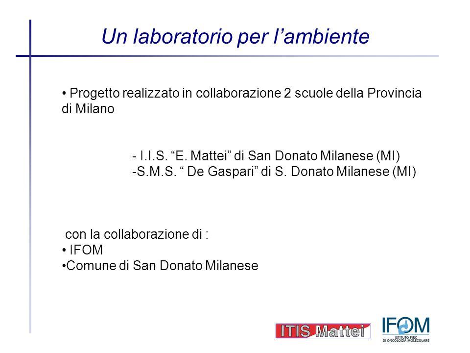 Un laboratorio per lambiente Progetto realizzato in collaborazione 2 scuole della Provincia di Milano - I.I.S. E. Mattei di San Donato Milanese (MI) -