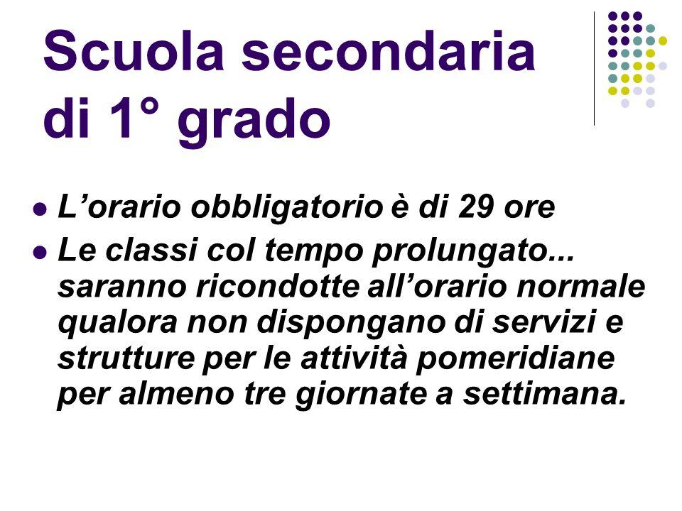 Scuola secondaria di 1° grado Lorario obbligatorio è di 29 ore Le classi col tempo prolungato...