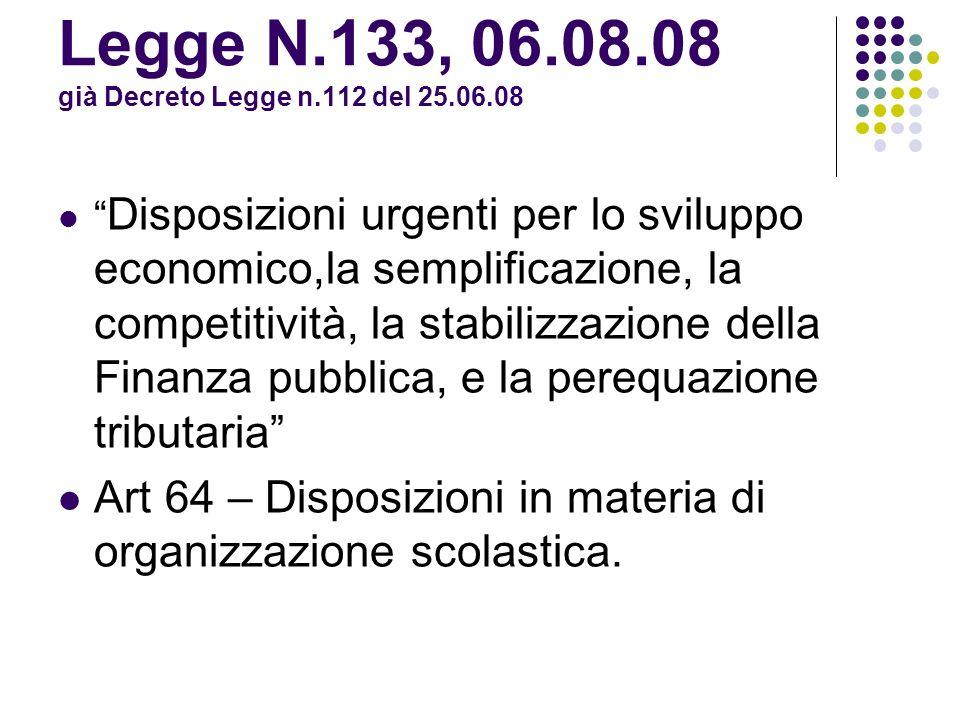 Decreto-Legge 1° settembre 2008, n.137/08 Art.3 Dalla.s.
