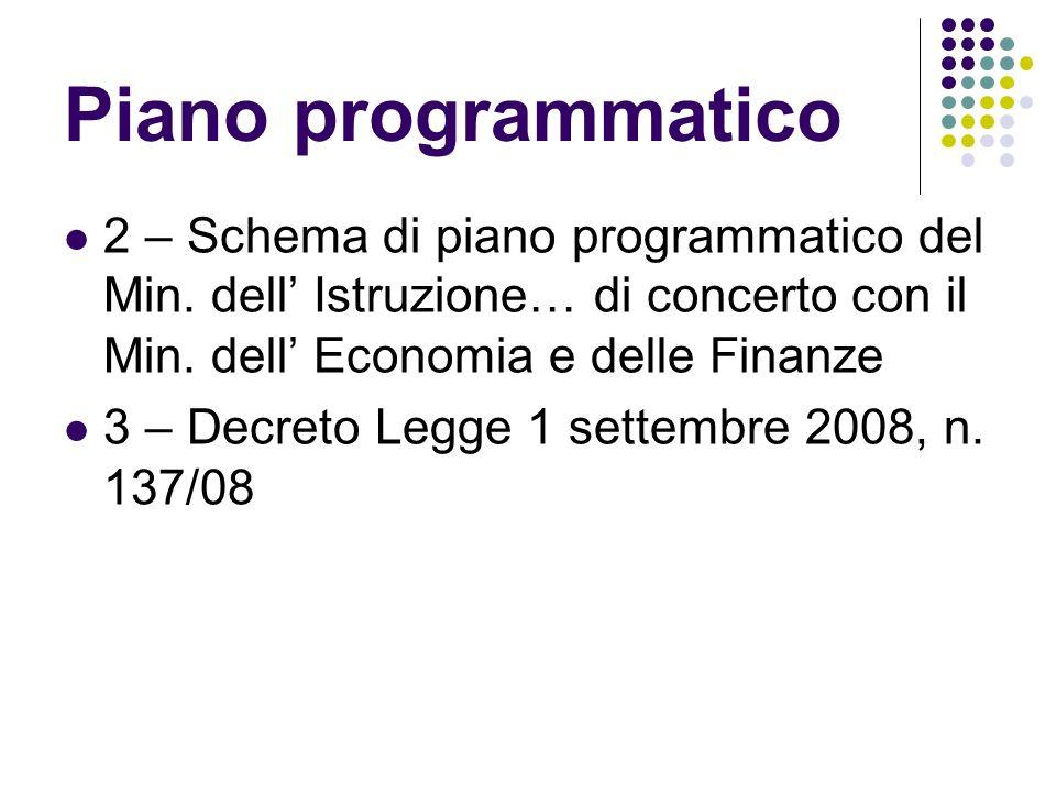Piano programmatico 2 – Schema di piano programmatico del Min.