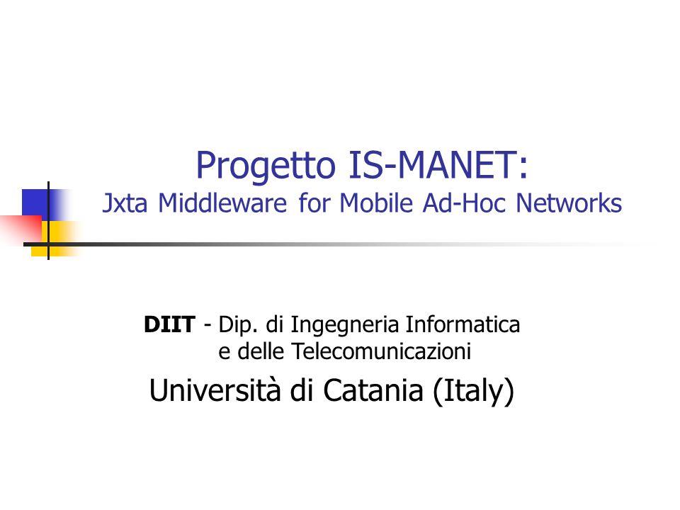 Progetto IS-MANET: Jxta Middleware for Mobile Ad-Hoc Networks DIIT - Dip. di Ingegneria Informatica e delle Telecomunicazioni Università di Catania (I
